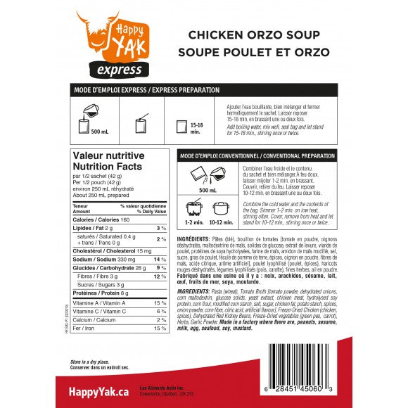 Happy Yak - Chicken Orzo Soup Freeze Dried Food