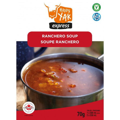 Ranchero Soup from Happy Yak Express with labels 'vegetarian' and 'lactose free' in the corner.
