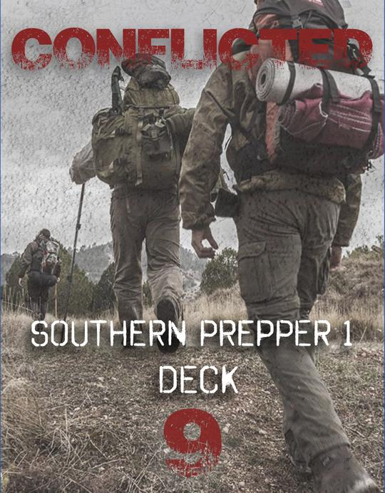 Conflicted Deck 9: Southern Prepper 1 front cover with three people wearing hiking backpacks and boots walking through the backwoods.