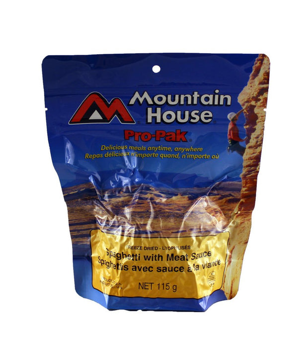 Mountain House Pro pak of Spaghetti and meat sauce. The package is a sky blue colour with a person in a red shirt and white helmet climbing up a rock face in a canyon setting.