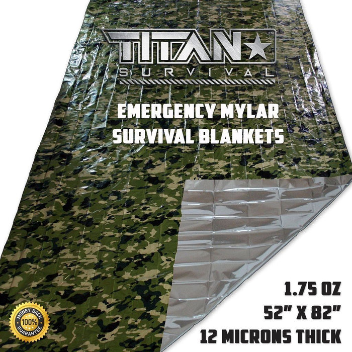 Titan Survival Blanket | Camoflauge (5 PACK)