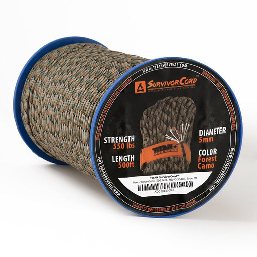 TITAN SurvivorCord 500 FT Spool (CAMO) | Patented Military Type III 550