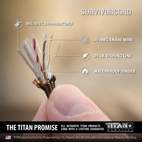 TITAN SurvivorCord (CAMO) | 100 Feet | Patented Military Type III 550
