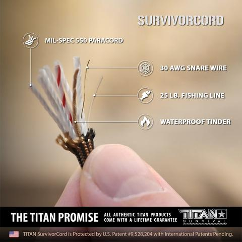 TITAN SurvivorCord 500 FT Spool (OLIVE) | Patented Military Type III 550