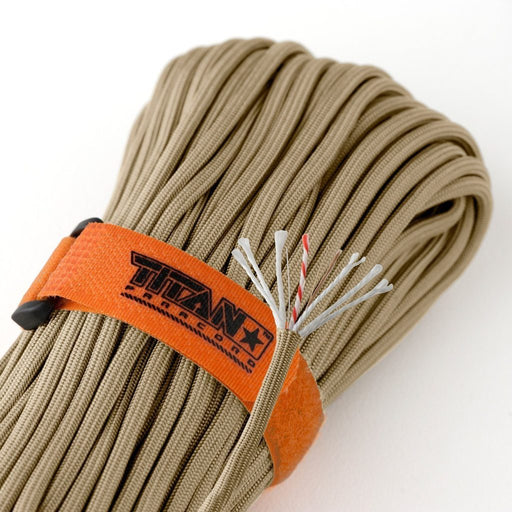TITAN SurvivorCord (DESERT TAN) | 100 Feet | Patented Military Type III 550