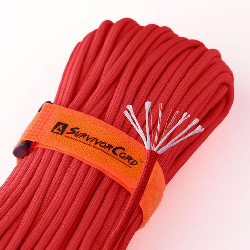 TITAN SurvivorCord (MED RED) | 100 Feet | Patented Military Type III 550