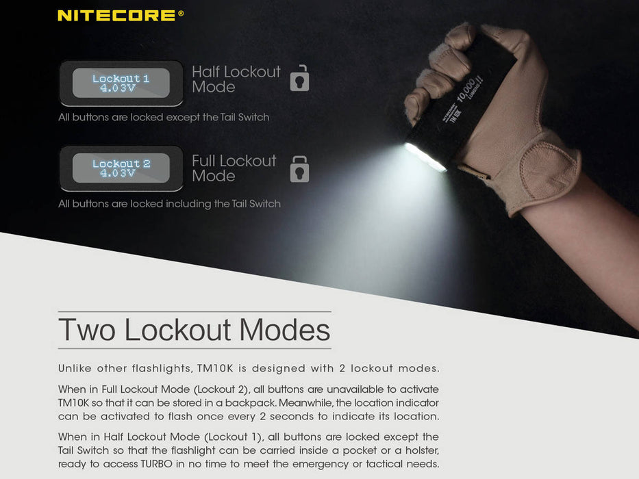 Two lockout modes of the Nitecore TM10K flashlight. The lockout modes lock the buttons from functioning.