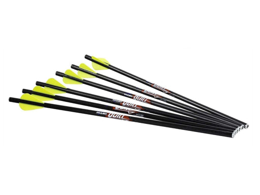 Excalibur Yellow Fletching Quill Arrows with 16.5 inch shafts. The shafts are Carbon made and black.