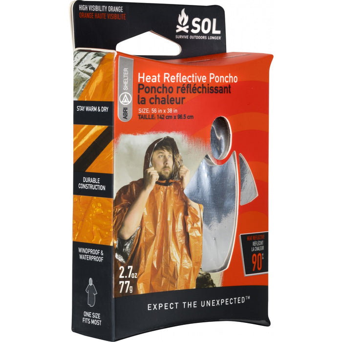 SOL - Heat Reflective Poncho for protection from Wind, Rain, & Snow.
