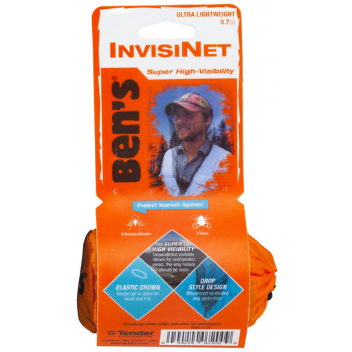 Front product view of Ben's Invisinet Super High-Visibility Head Net. Descriptions 'Protect yourself against mosquitoes and flies' 'Elastic Crown'and 'Drop Style Design.'