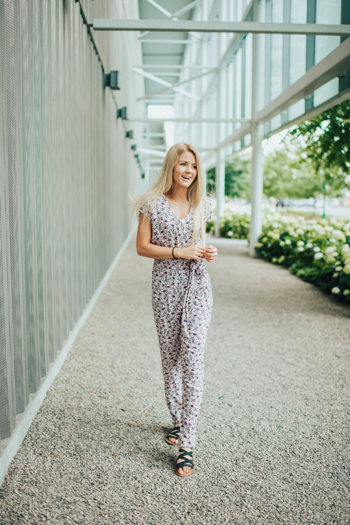 Kayla Jumpsuit In Berry - Bottoms