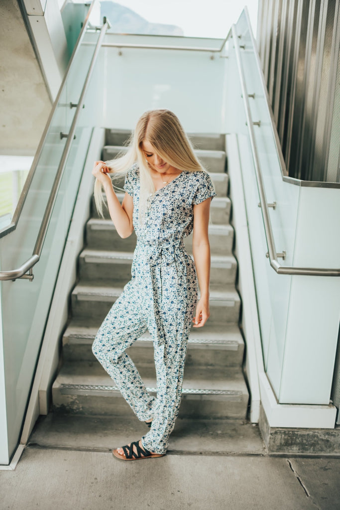 Kayla Jumpsuit In Navy - Bottoms