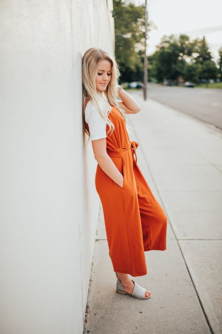 Hartley Jumpsuit In Rust - Bottoms