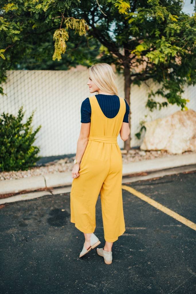 Hartley Jumpsuit In Mustard - Bottoms
