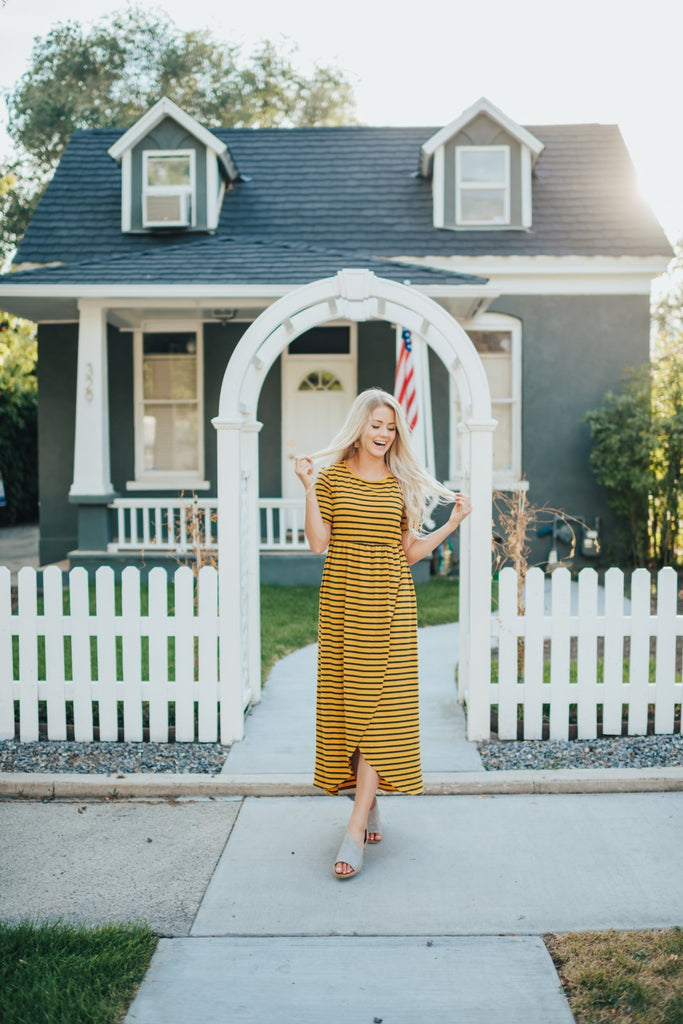 Sara Striped Dress In Mustard - Dress
