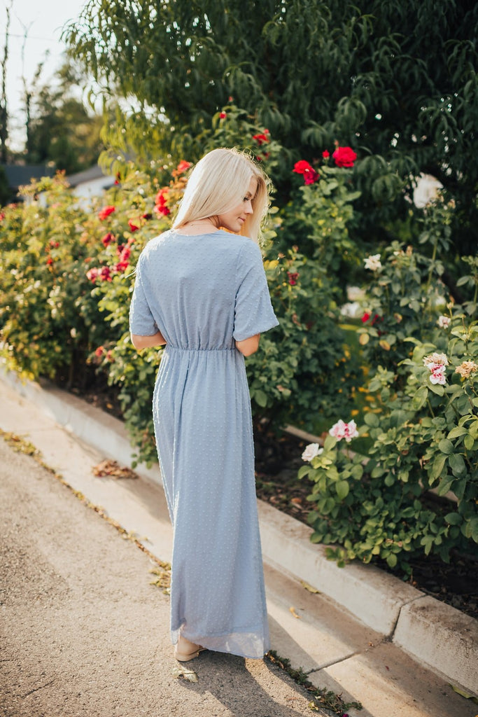 Evelyn Dress In Dusty Blue - Dress