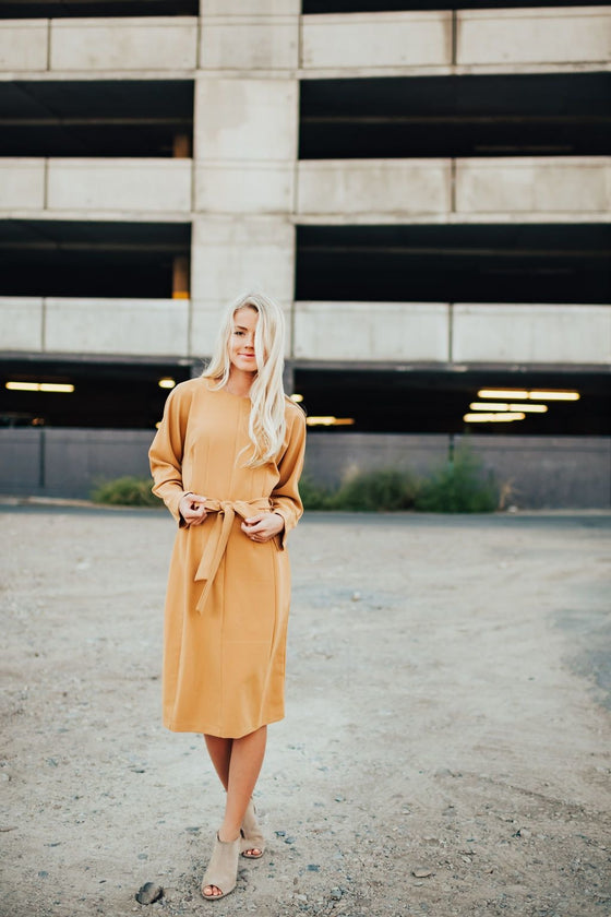 Zoey Dress In Mustard - Dress