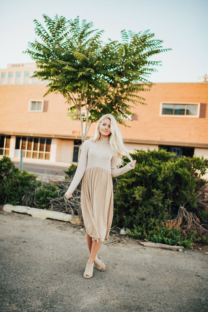 Tiffany Dress In Taupe - Dress