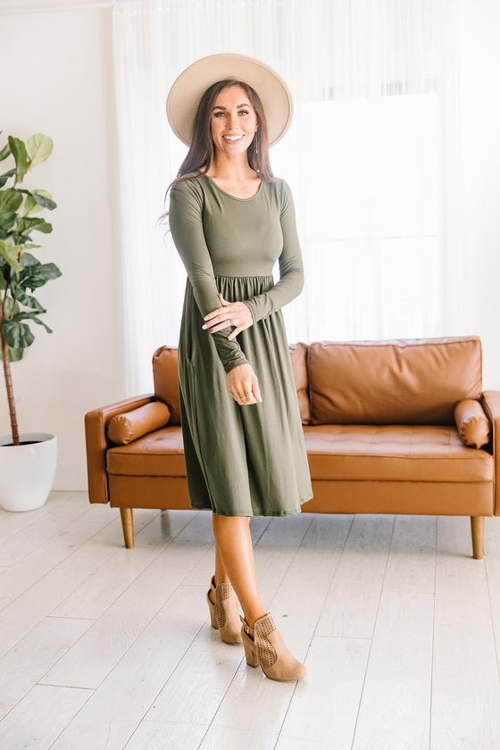 MARIA CLASSIC DRESS IN OLIVE