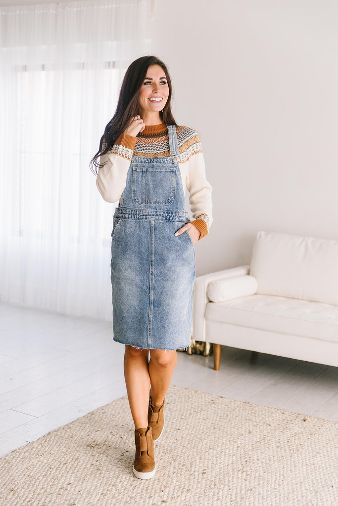 RAE DENIM OVERALL DRESS