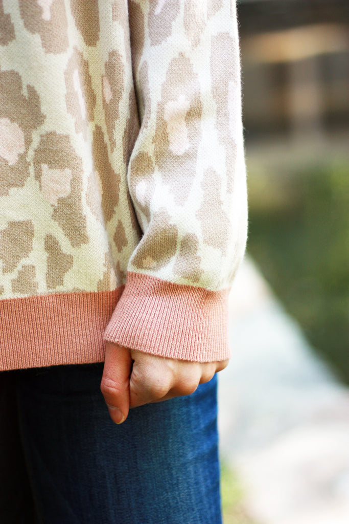 ADDIE CHEETAH SWEATER WITH PINK TRIM