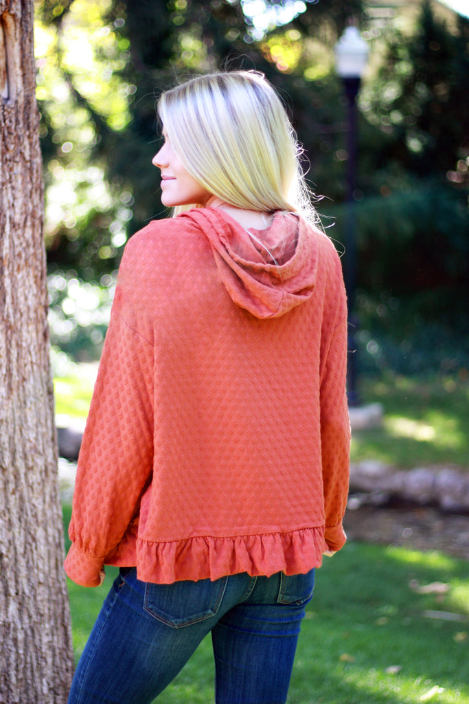 BREE TOP WITH HOODIE IN SPICE