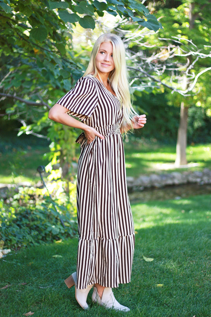 CHALLIE MAXI DRESS WITH BROWN AND CREAM STRIPES