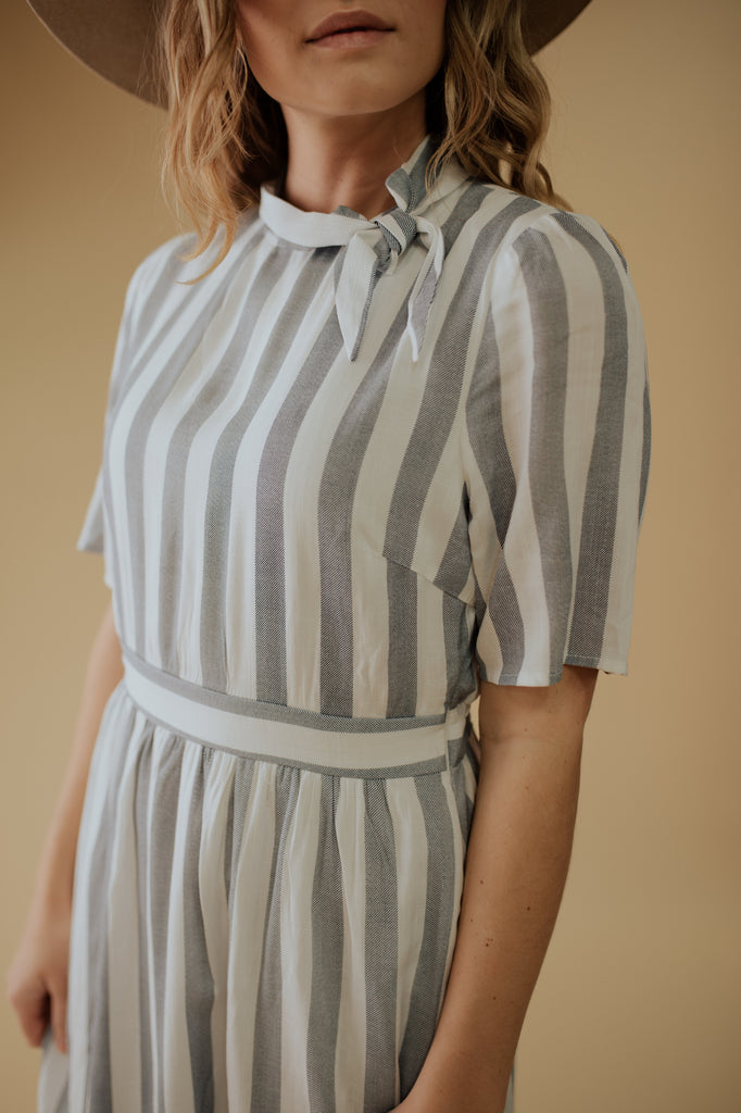 ELLIE STRIPED DRESS IN BLUE AND WHITE