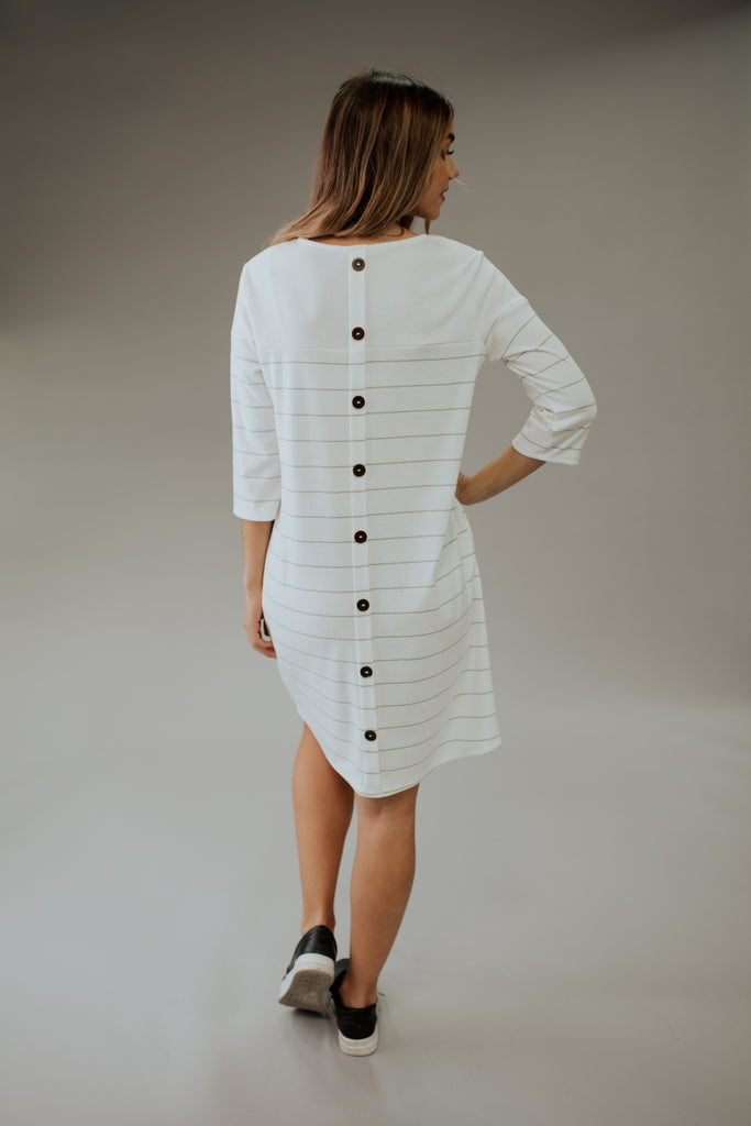 ASHLAND BUTTON BACK T-SHIRT DRESS IN IVORY