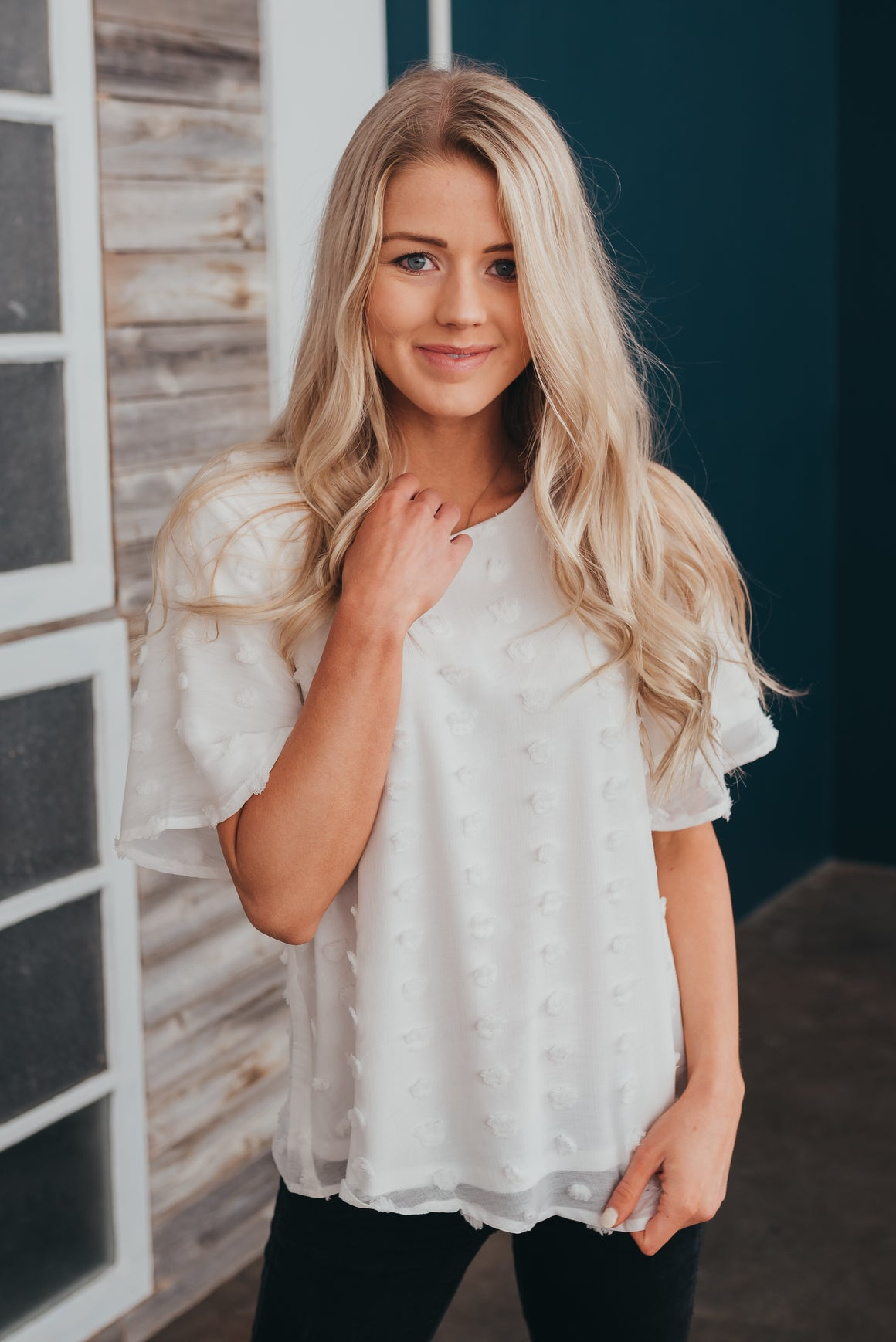 POM-POM TOP IN WHITE