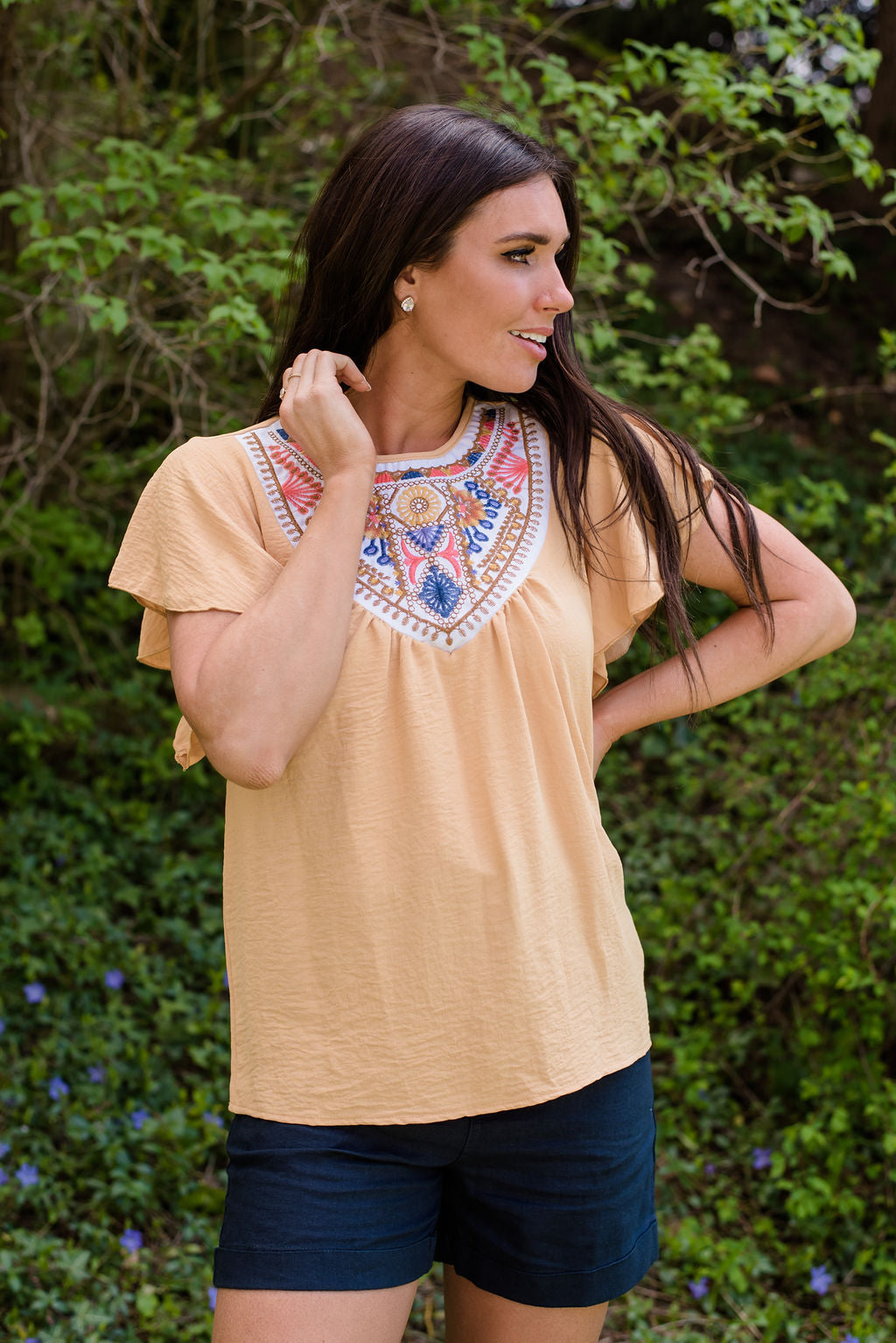 LARA EMBROIDERED  BOHO TOP IN MUSTARD