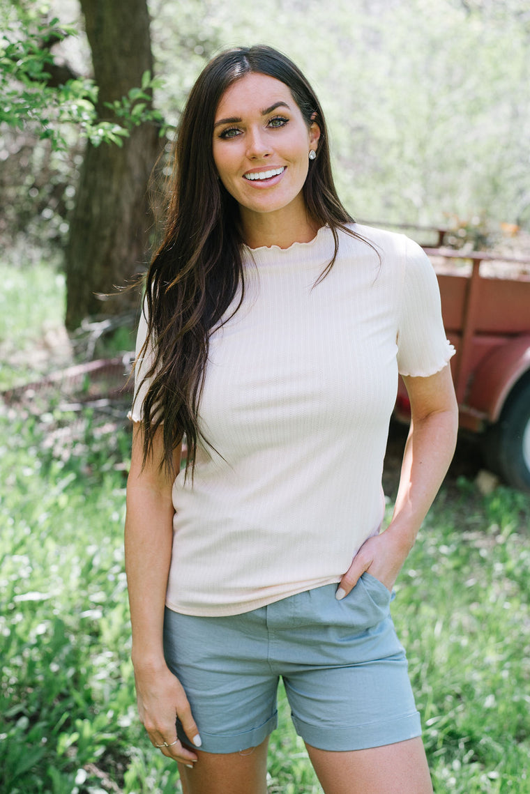 MADISON TEXTURED TOP IN BLUSH