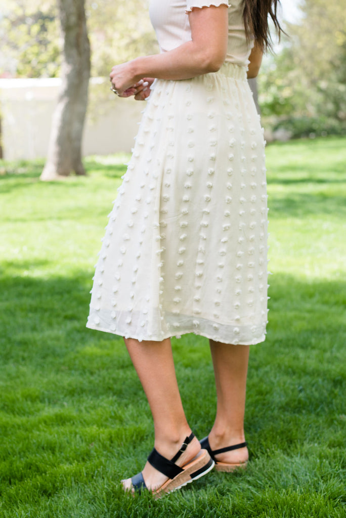 RACHEL POM POM SKIRT IN IVORY
