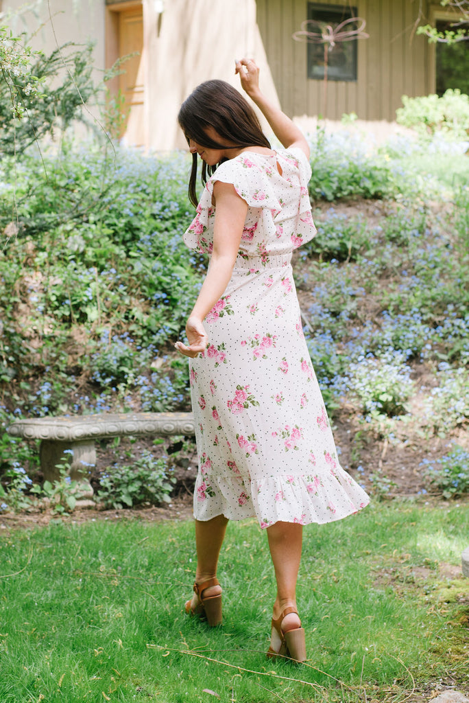KATE MIDI DRESS WITH FRONT RUFFLES IN PINK