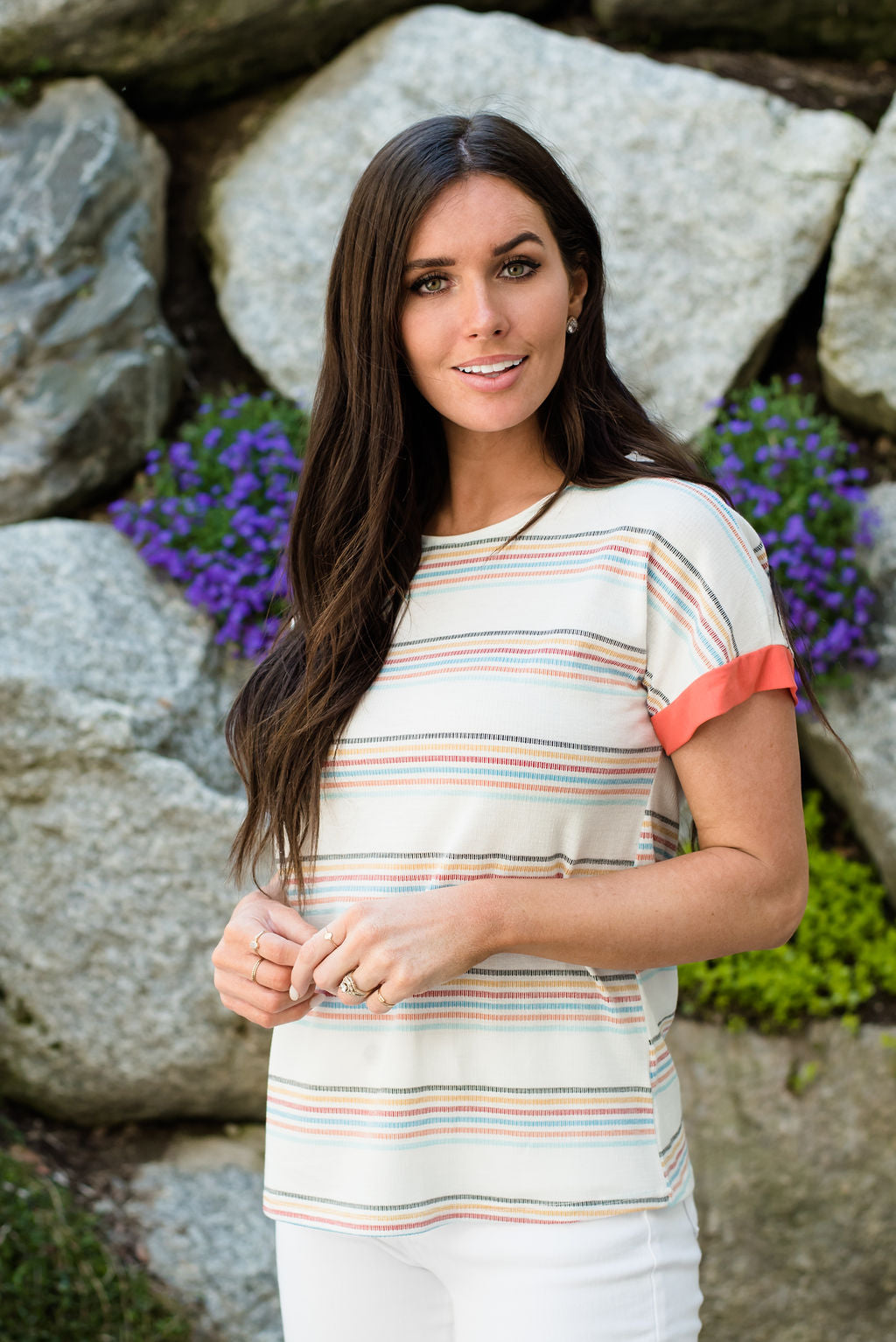 OLIVIA STRIPED TOP IN WHITE WITH CORAL SLEEVES