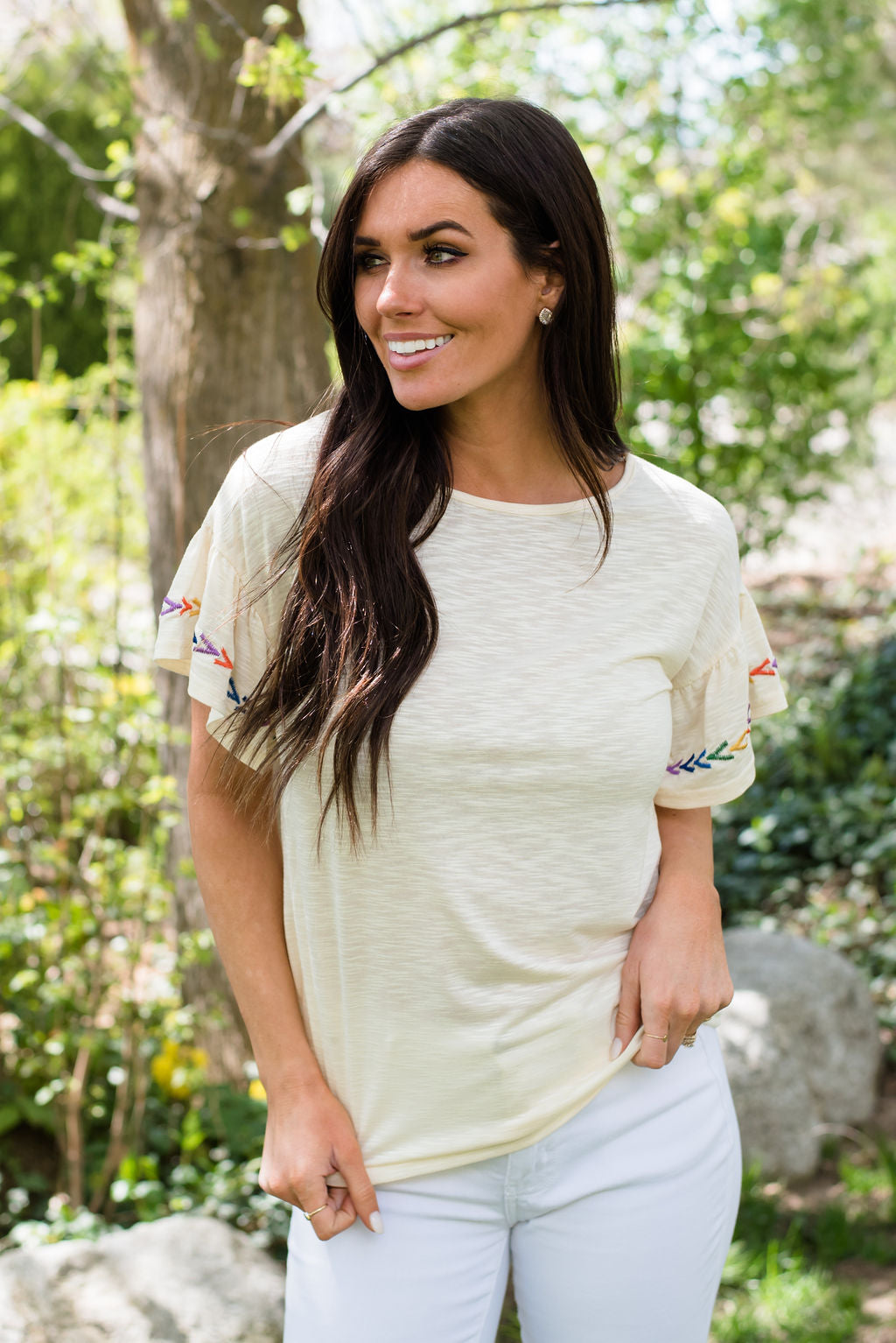 HOPE TOP IN CREAM WITH EMBROIDERED SLEEVES