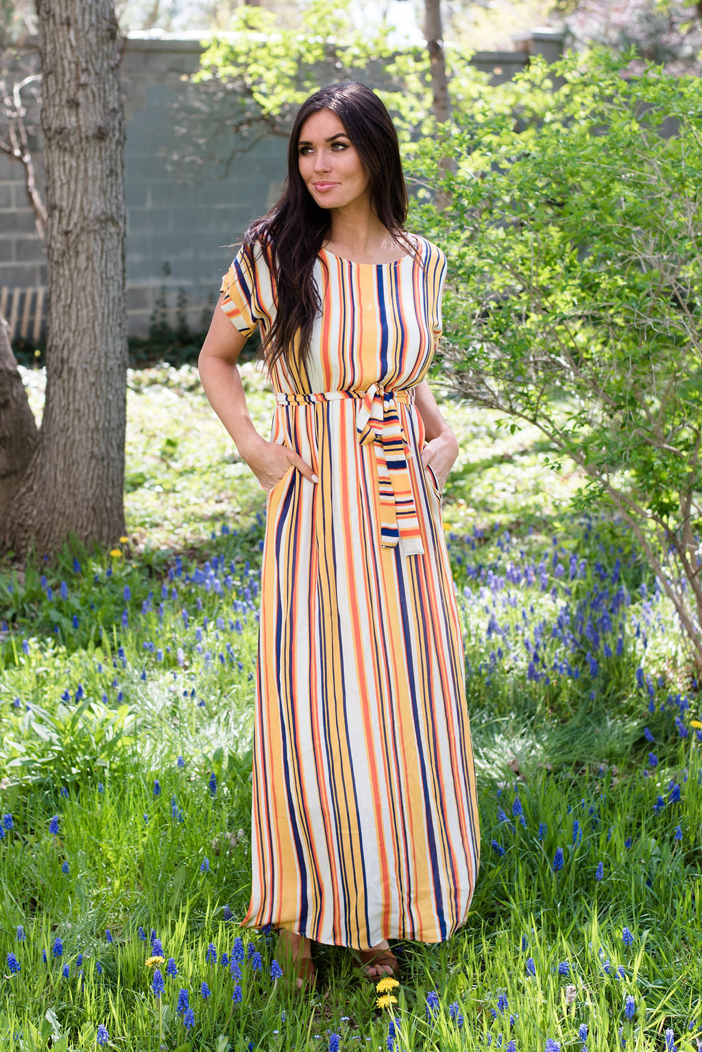 BECCA MAXI DRESS WITH MULTI-STRIPES