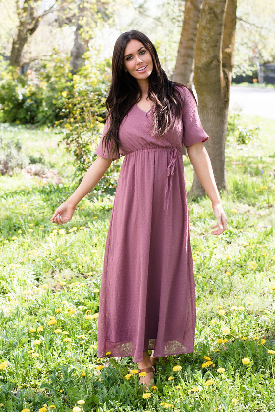 EVELYN MAXI DRESS IN MAUVE