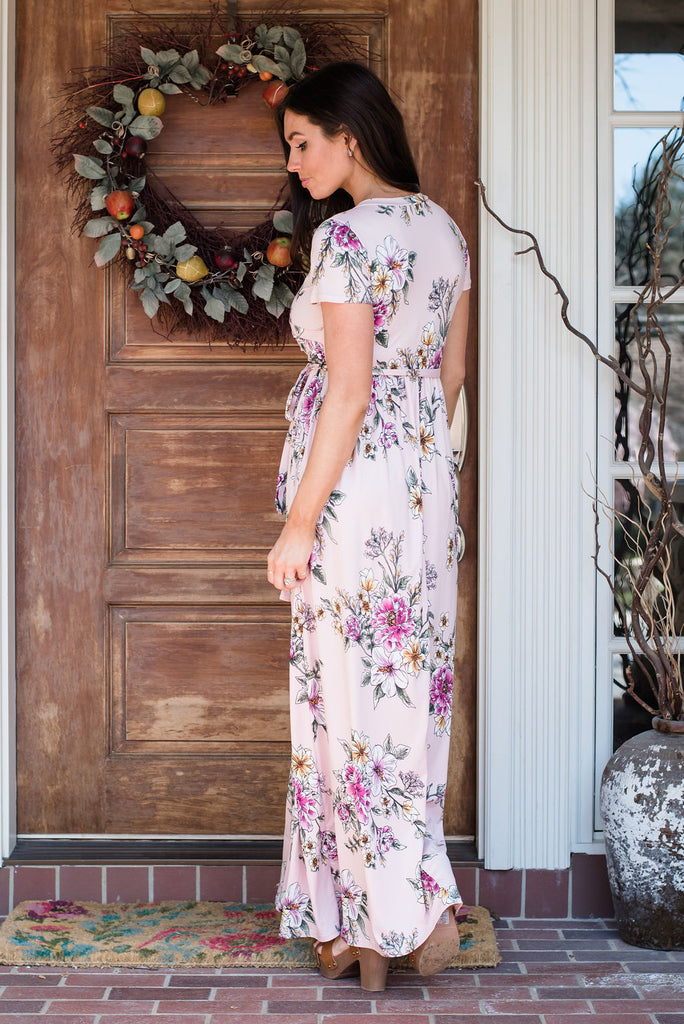 SYDNEY MAXI WRAP DRESS IN PINK FLORAL