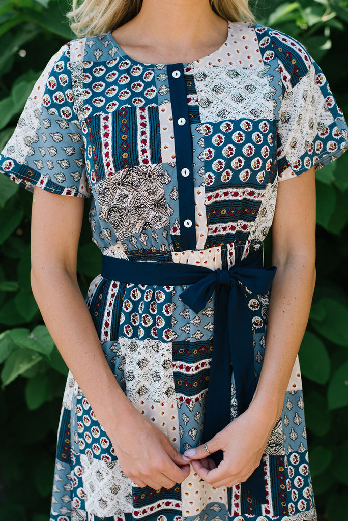 LINDSEY MIDI PATCHWORK DRESS IN BLUE