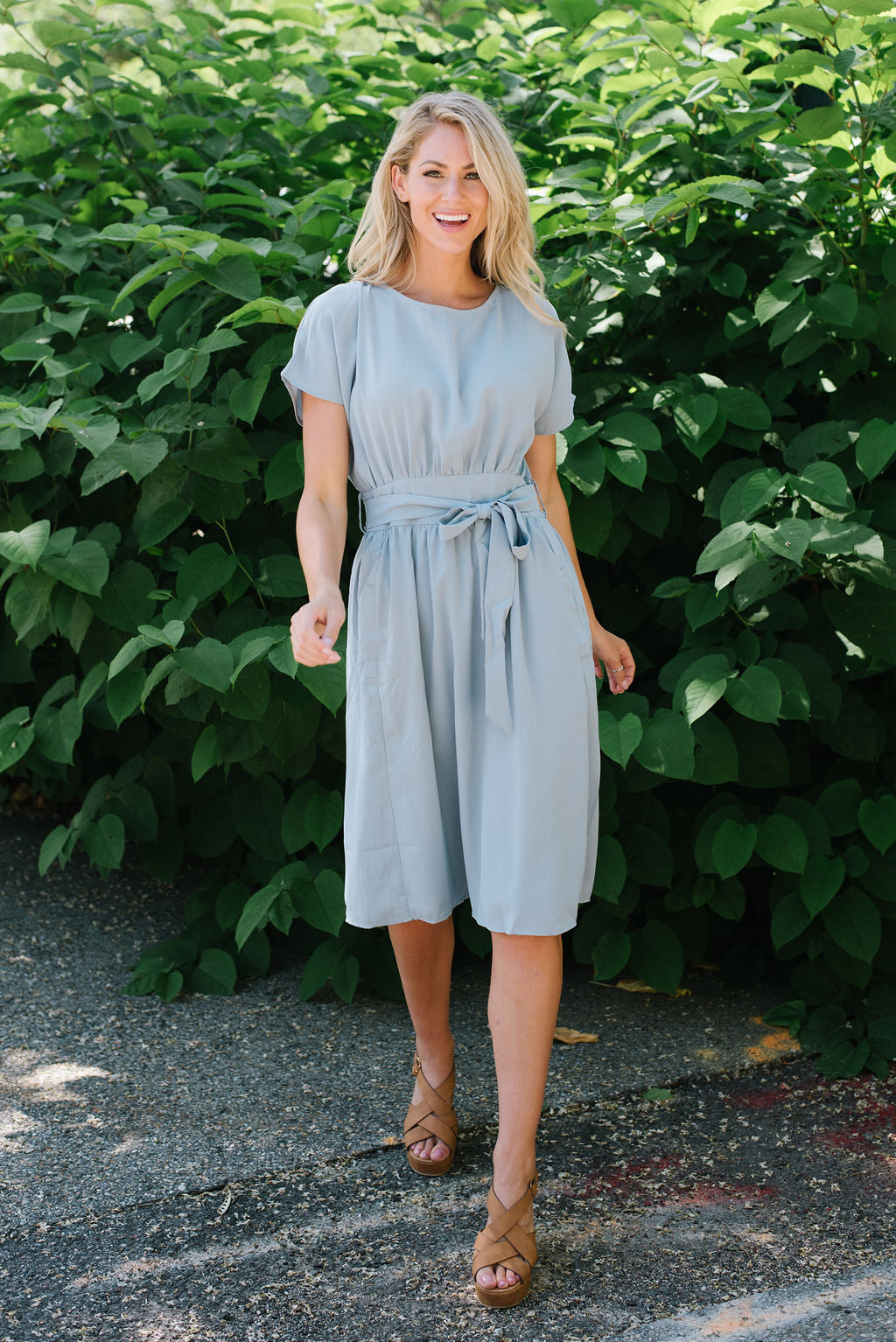 TIFFANY MIDI DRESS IN ASH BLUE
