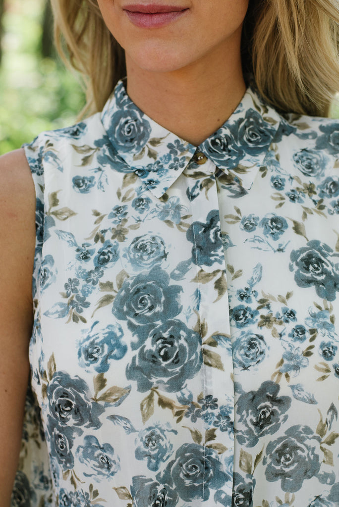 SYLVIA HIGH/LOW MIXED FLORAL SLEEVELESS TOP