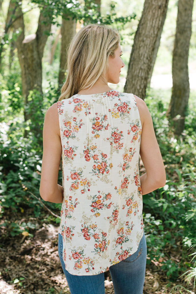 ROCHELLE SLEEVELESS HIGH/LOW  PRINT TOP