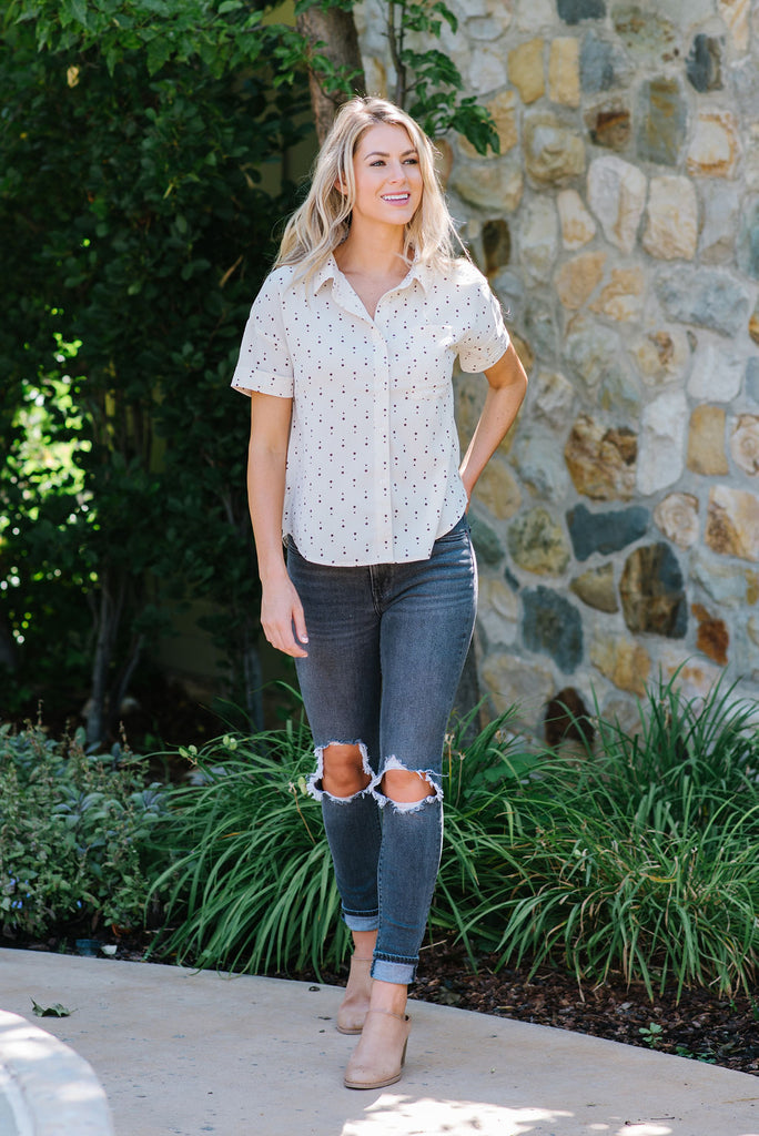 DAWNA TOP IN IVORY AND BROWN POLKA DOTS