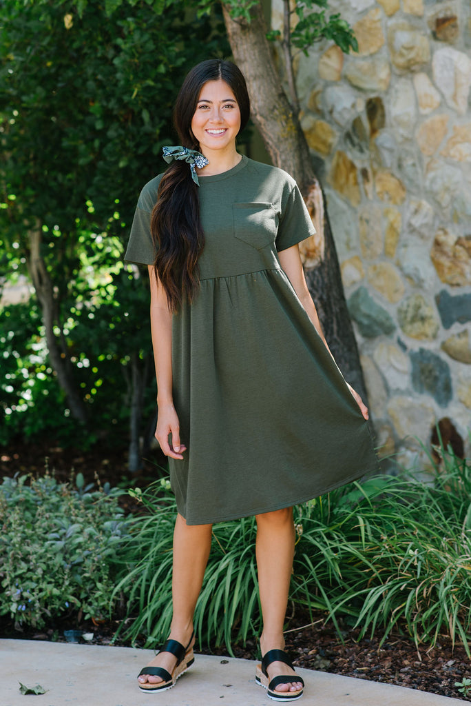 LANEY MIDI DRESS IN OLIVE