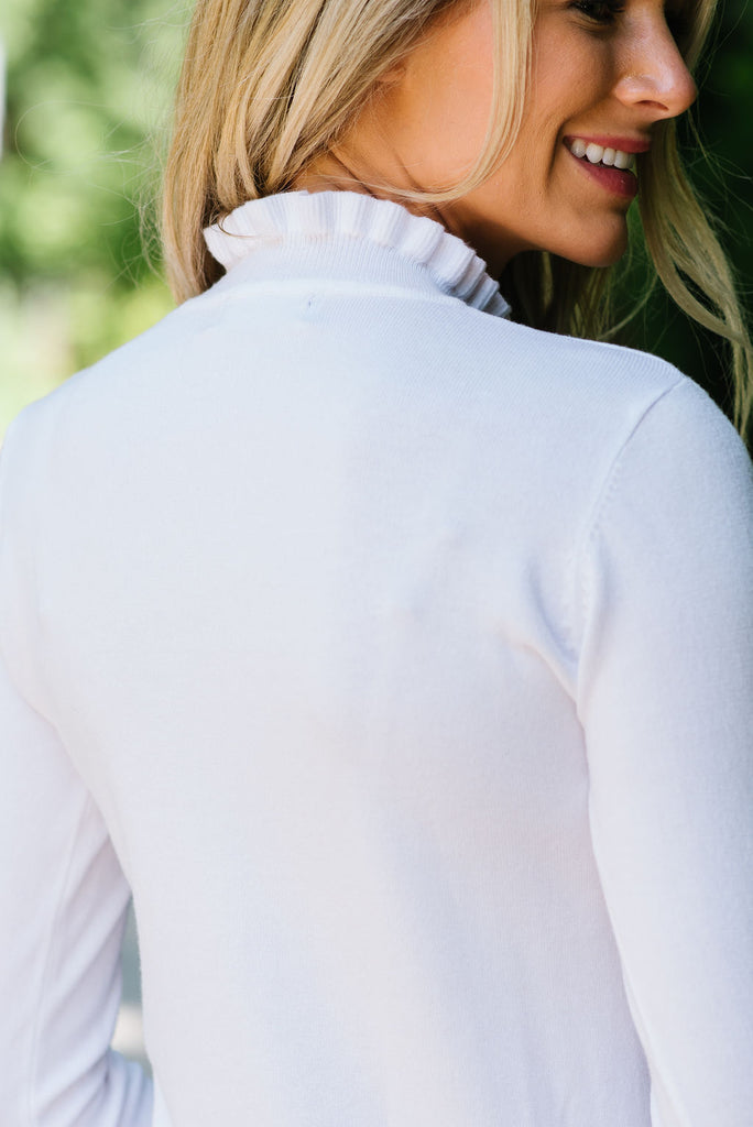 FIONA RUFFLE-NECK TOP IN WHITE