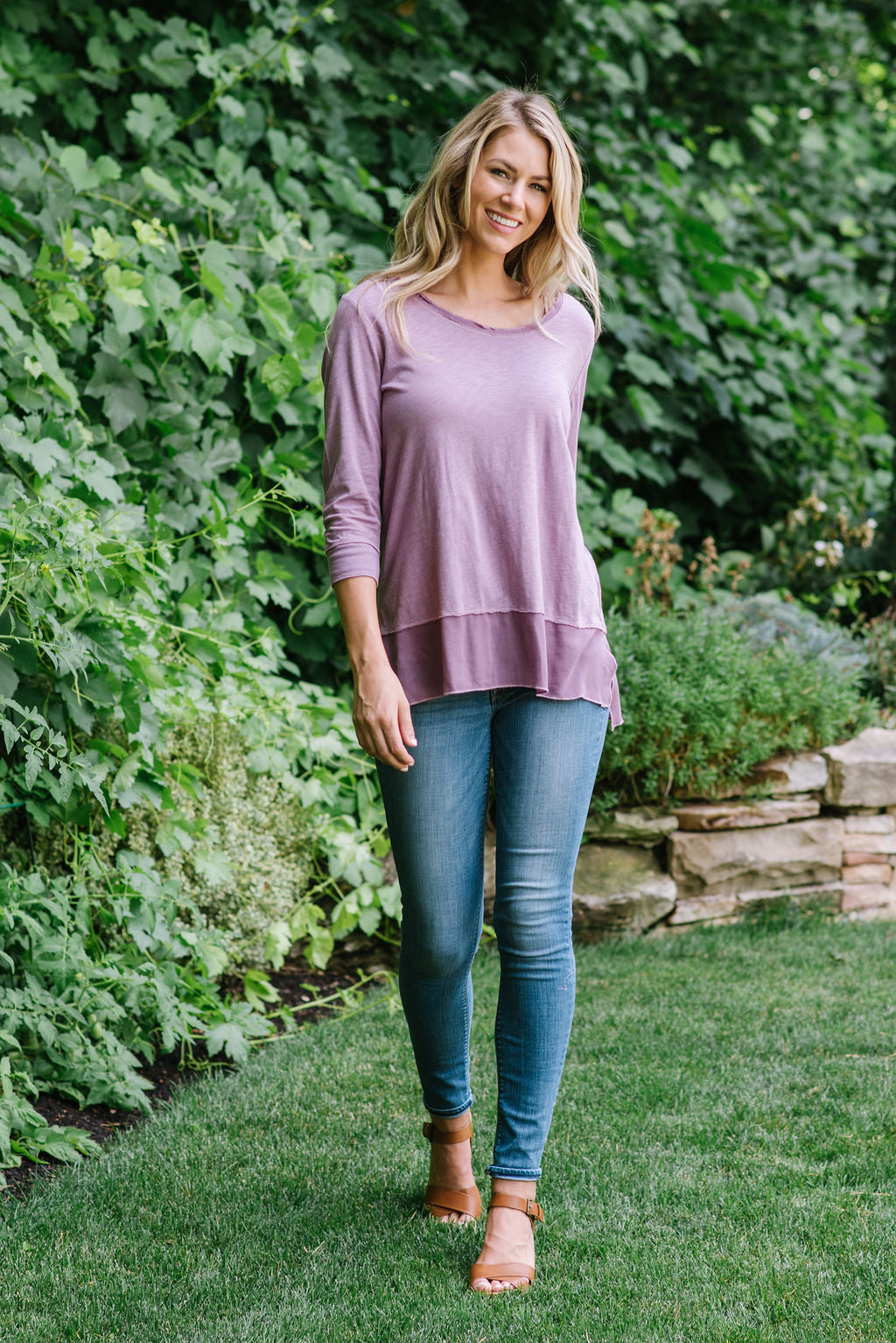 BROOKE LAYERED SCOOP NECK TOP IN VIOLET