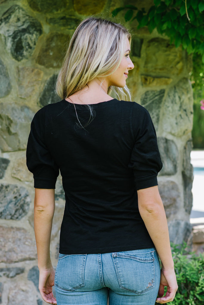 CASSIE TOP WITH 3/4 PUFF SLEEVE IN BLACK