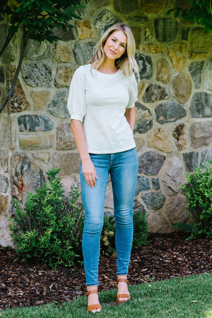 CASSIE TOP WITH 3/4 PUFF SLEEVE IN IVORY