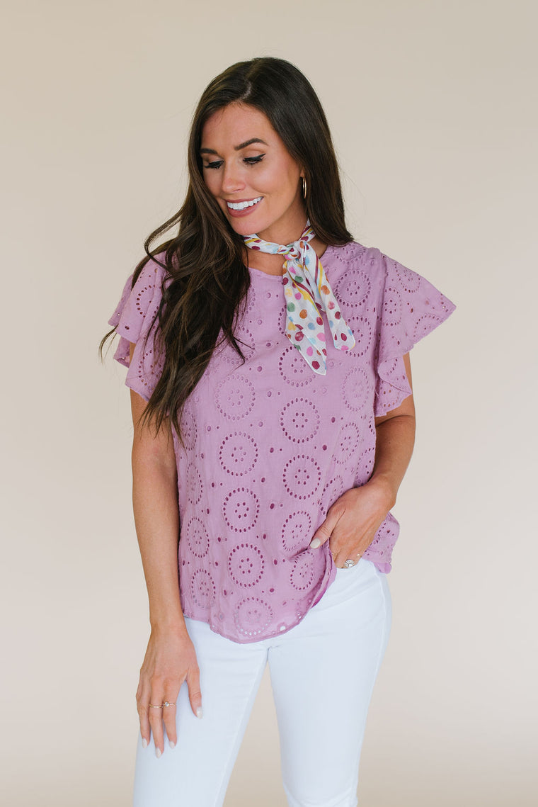 STEPHANIE EYELET TOP IN MAUVE